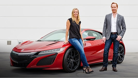 Designer Michelle Christensen in front of Curva Red NSX.