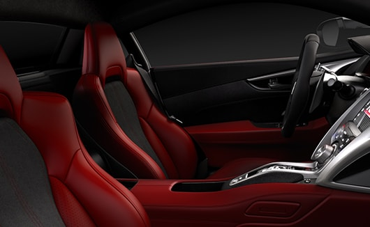 Red leather and black Alcantara NSX interior.