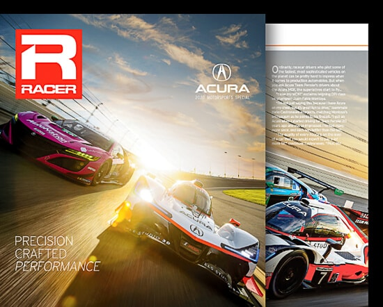 Acura Racer Magazine cover and view of internal pages