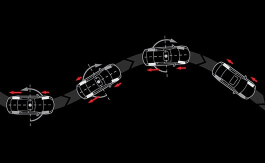 Illustration of vehicle image tracing precise line on curvy road.