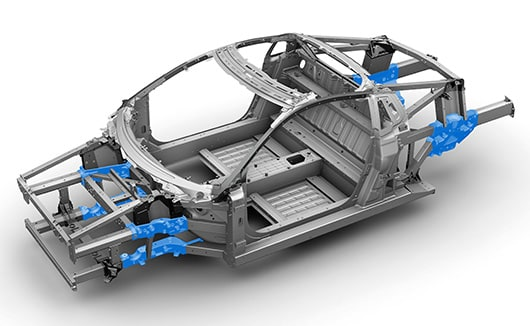 Free-standing NSX body structure joint pieces formed by aluminum.