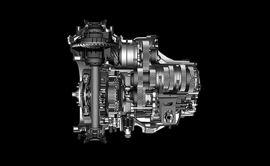 Cut-away view of NSX 9-speed dual clutch transmission.