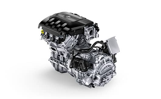 Free-standing 3.0 liter V-6 engine with Sport Hybrid motor and transmission.