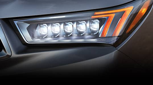 Close up of MDX Jewel Eye Headlight.