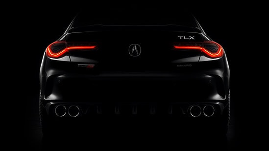 2021 Acura TLX Type S rear view with lights on